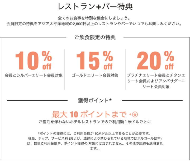 SPGアメックス 評判 口コミ レストラン+バー 優待割引